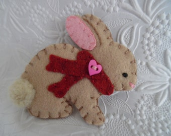 Felt Bunny Brooch Red Scarf Christmas Heart Button Pin Primitive