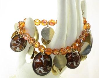 Vintage Kenneth Cole Gold Tone Dangling Amber Brown Stretch Bracelet (BR-2-4)