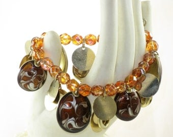 Vintage Kenneth Cole Gold Tone Dangling Amber Glass Crystals and Brown Enamel Discs Stretch Bracelet (BR-2-4)