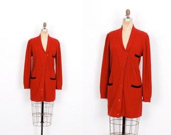 Vintage 1980s Sweater / 80s Sonia Rykiel Asymmetrical Wool Cardigan / Burgundy ( S M L )
