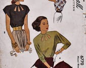 Vintage 40s Sewing Pattern / McCall 6770 / Blouse Shirt Top / Size 16 Bust 34