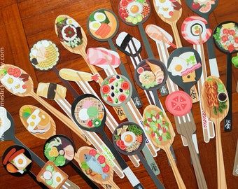 Food Bookmark, Moore Bookmark, Sushi Bookmark, Food Bookmark, Spoon Bookmark, Japanese Food Bookmark, Chinese Food Bookmark