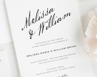 Modern Calligraphy Wedding Invitations - Sample