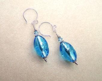 Aqua Blue Lamp Work Earrings Oval Drop Earings Bright Blue Gift Lampwork Jewelry Light Blue Glass Silver Wire Canadian Made Women's Earring