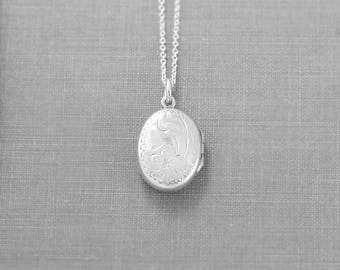 Sterling Silver Locket Necklace, Small Oval Vintage Birks Photo Pendant - Ageless