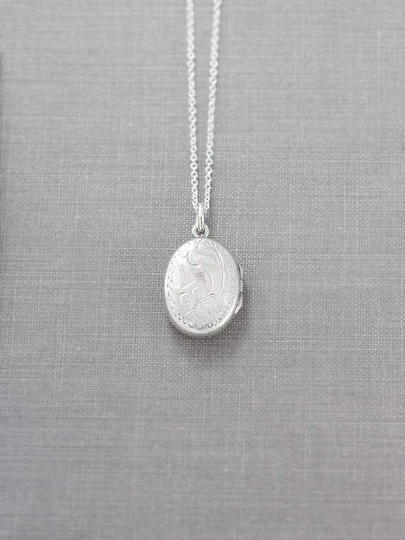 Sterling Silver Locket Necklace, Small Oval Vintage Birks Photo Pendant - Ageless