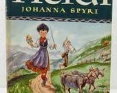 Vintage Heidi Book with Dust Jacket 1945 Version Illustrated Junior Library Grosset and Dunlap Johanna Spyri