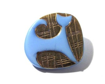 Czech CAT Button Gold Art Deco Style Cat VINTAGE Czech Glass Button One (1) Blue Czech Glass Mod Cat Vintage Button Jewelry Supply (R52)
