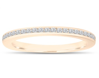 Diamond Wedding Band, Half Eternity Ring, Thin Band, Anniversary Ring, Stackable Ring 14k Yellow Gold Canal Set 0.23 Carat Handmade