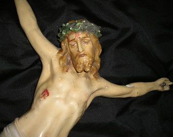 """Vintage 19"""" Crucified Jesus Christ Corpus. Antique Rescued Religious/Christian damaged Church Relic/Icon."""