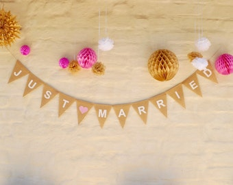 JUST MARRIED Hessian Burlap Wedding Celebration Party Banner Bunting Decoration white text  white heart