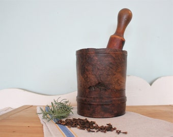 Antique Hand Turned Walnut Burl Wood Apothecary Mortar and Pestle