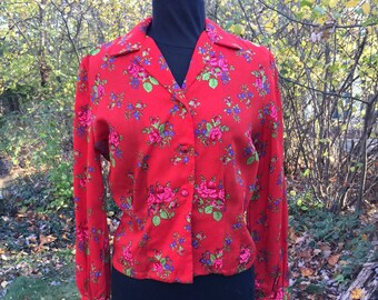 Vintage 70s Blouse / Wool Shirt by Sloat & Company
