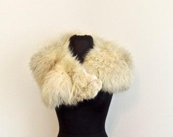 vintage fur collar - 1960s white fox fur collar stole