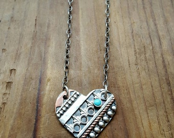 Loved - Mixed Metal Heart Necklace