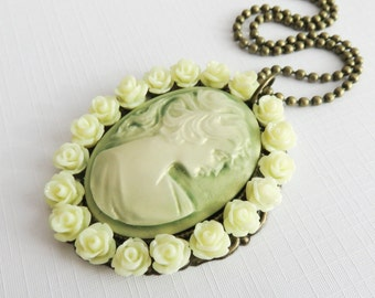 Cameo necklace, victorian style necklaces, green jewelry, for her, romantic jewelry, bronze vintage style jewelry