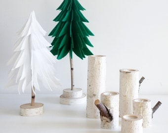Sale:  natural white birch wood candle holders - set of 5, log candle holders,  rustic wooden candle holders, tree branch