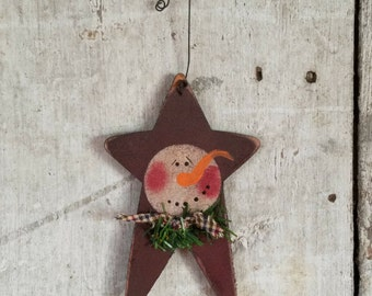 Star Snowman Ornament,  Primitive Snowman Ornament, Painted Snowman, Country Snowman, Star Ornament, Christmas Ornament, Wood Ornament