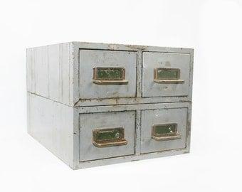Vintage Industrial Storage Cabinet Drawers Card Catalog