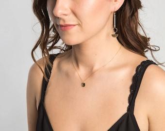 Half Moon Dangle Earrings // Geometric Earrings // Geometric Jewelry // Dangle Earrings