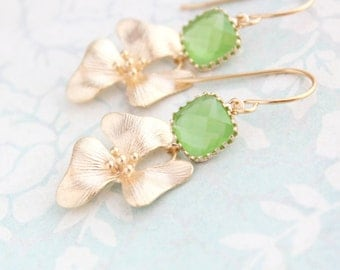 Apple Green Glass Earrings Gold Orchid Flower Floral Drop Bridemaids Gift Greenery Wedding Jewelry Spring Colors Lime Green Nickel Free