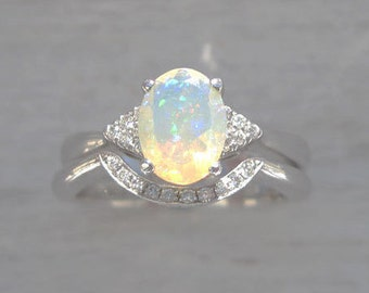 Bridel Set Opal Engagement Ring, Set Antique Style Engagement Opal Ring, Vintage Opal Ring, Birthstone Gold Ring, Engagement Ring With Opal