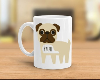 Personalized Pug mug, custom pug mug, personalize name, personalize wording, pug gift