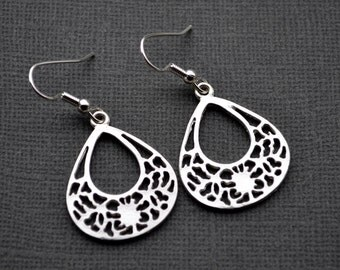 Silver Open Teardrops . Earrings