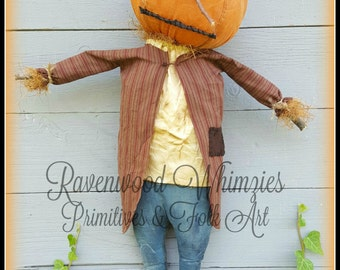 Primitive Pumpkin Pattern, Primitive Scarecrow, Primitive Fall, Prim Pumpkin, Prim Halloween, Halloween, Fall PATTERN!