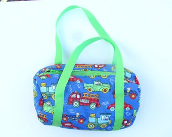 Fire Engine Quilted Duffle Bag for Toddler Boy, Grandson Gift, Baby Shower Present