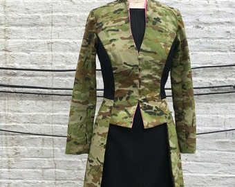 Camouflage and Pinstripe Fitted Edwardian style Jacket, size Medium