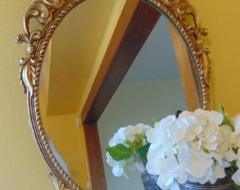 Vintage Large Gold Floral Filigree Wall Hanging Mirror