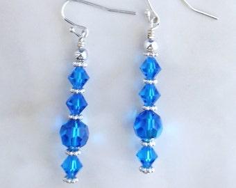Sapphire Crystal Bridal Earrings, Swarovski Beaded Earrings, Bridesmaid Earrings, Birthstone Earrings, Crystal Earrings, Als Jewelry Designs