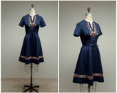 Vintage 1960s Dress • Swiss Alps • Blue Embroidered Poly 60s Dress with Corset Waist Size Medium
