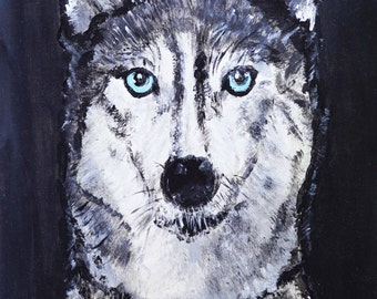 CUSTOM Pet Portrait Original acrylics painting Animal, dog painting, original dog art, husky pup portrait, animal lover gift, customizble