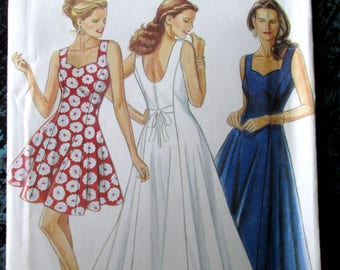 long sundress with princess neckline, flared seams, back tie, formal evening prom, vintage 90s sewing pattern, New Look 6708, women 6 8