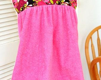 Adult Shirtsaver in Pink Floral Print, Senior Bib, No Tie Apron