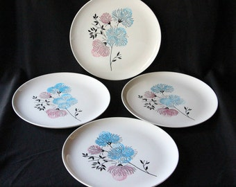 Set of 4, Stetson China Company Mid-century Modern Dinner Plates, Pink & White Flowers