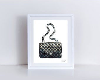 Chanel Quilted Handbag Classic - Giclee Print of Original Watercolor - Fashion Illustration Coco Quotes Double C Vintage Paris Black Leather
