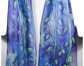 "Bamboo Silk Scarf. 8""x53"". Vine silk scarf. Handpainted silk scarves. Painted silk scarves. Hand painted silk scarf. Hand-painted silk scarf"