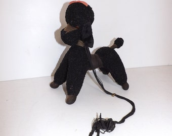 Vintage 1950s Merrythought black poodle dog soft toy with lead
