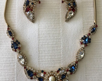 Vintage Hobe Jeweled Necklace and Earring Set