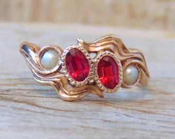 Victorian Antique Ruby and Pearl Ring, 10K Yellow Gold, Wedding, Anniversary, Engagement