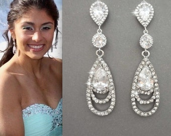 Long Rhinestone Earrings ~ Elegant ~ Brides earrings ~ Sterling silver posts, Bridal Jewelry ~ Bridesmaids earrings, Prom earrings, BECKA