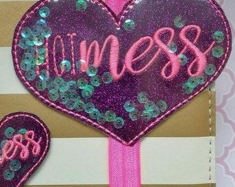 Hot Mess heart with sequins planner band, Purple glitter Hot Mess heart planner paperclip, Heart elastic band, Hot mess planner accessory