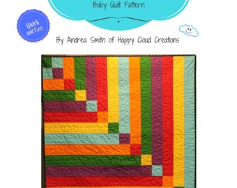 Stepping Stone Baby Quilt Pattern, Baby / Toddler size, Quick, Easy, Beginner pattern, Novice Quilter, half square triangles, hst