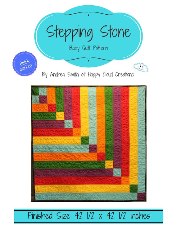 Stepping stone baby quilt pdf pattern baby toddler size stepping stone baby quilt pdf pattern baby toddler size quick easy beginner pattern novice quilter half square triangles digital pronofoot35fo Images