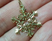 14k Solid Gold Snowflake Charm for Bracelet or Pendant