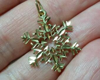 14k Solid Gold Snowflake Charm for Bracelet or Pendant