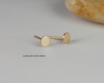 Gold Circle Earrings 14K Gold Stud Earrings Solid Gold Earrings 14K Minimalist Earrings